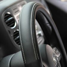 "Black PVC Leather Steering Wheel Cover Corolla Camry Tacoma 14-15"" 38cm Non-Slip"