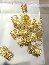25 Gold Dread lock Beads 9 x 8 Dreadlock Cuffs Braids Hair Extensions Aus stock