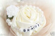 """Armband """"Braut"""" Junggesellinnen Abschied, Hochzeit mit Perlen und Blüte"""
