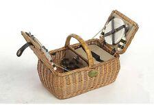 Luxury Lifestyle Willow Picnic Hamper 4 Person Wicker Basket Plates Glasses Wine