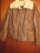 A.N.A. Women's Jacket Brown With Cream Lining Zipper Front Two Zipper Pockets