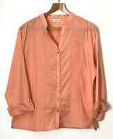 East Indian Cotton Peach Blouse Tunic Top Size 16 Pleated Front Smart Work