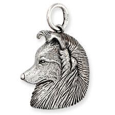 More details for solid sterling silver border collie shetland sheepdog? dog pendant (also gold)