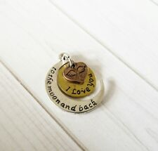 Word Charms Pendants Quote Charms Inspirational I Love You to The Moon Silver