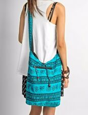 Blue Hobo Soft Coton Bag Crossbody Om Boho Shoulder Slouch Hippie Gypsy Bag