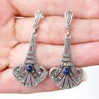 E738 Boucles d'oreilles Style Art Déco Argent 925 marcassites lapis lazuli