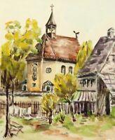 W.ECKART(1890-1978), Idyllische Landschaft, Barocke Kapelle im Grünen, Aquarell
