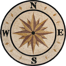 """Bold Letters Compass Round 45"""" Shower Bathroom Natural Tile Marble Mosaic MD1722"""