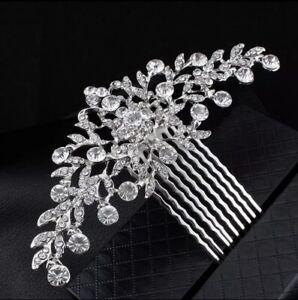 Bridal Wedding Bridesmaid Silver Crystal Hair Clip Comb Head Piece