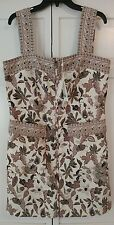Tory Burch Front Zip/Pockets Taupe/Antique White Paisley Dress NWT $395 Size 14