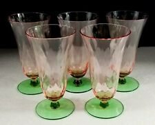 """5 Watermelon Pink & Green Footed Tumblers 7-3/8""""Water Glass Iced Tea- Tiffin"""