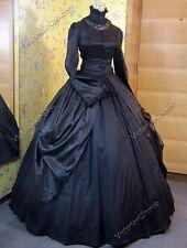 Victorian Black Gothic Witch Steampunk Dress Vampire Halloween Costume 156 L