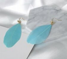 Earring Boho Festival Party Boutique Uk Blue Turquoise Long Drop Feather Fashion