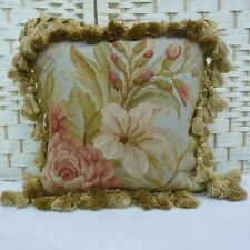 """12"""" x 12"""" Handmade French Gobelins Tapestry Weave Wool Aubusson Pillow Cover"""