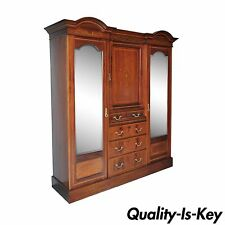 C. 1900 Antique Edwardian Carved Inlaid Mahogany Armoire Wardrobe French Style