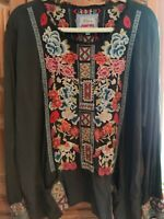 Johnny Was ZELLA Slate Challis Blouse Cross-stitch Embroidery Fray Neckline XL