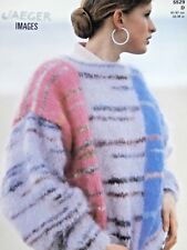 """JAEGER Knitting Pattn 5529-Ladies Mohair Colour Block Sweater 32""""-38"""" Not a copy"""