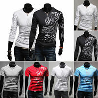Mens Dragon Tattoo Printed Slim Fit Short/ Long Sleeve Casual T-Shirts Tee Tops