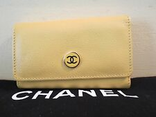 NEW AUTHENTIC CHANEL YELLOW LEATHER CHANEL KEY CHAIN HOLDER WALLET