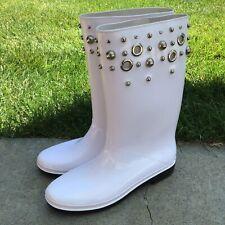 Stuart Weitzman Womens Embellished Studded Rain Boots White XL 8.5-9 US