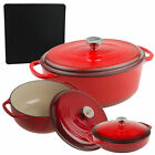 Lodge 3-Piece Enameled Cast Iron Dutch Oven, Covered Casserole Dish Cookware Set