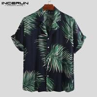 Men Beach Hawaiian Shirt Printed Lapel Neck Short Sleeve Casual Tropical Top Tee
