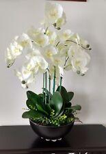 Artificial Flower Silk Orchid Flower Arrangement in a Hammered Black Metal Bowl