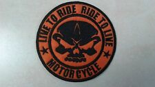 1 pc LIVE TO RIDE BIKER EMB. PATCH SEW/IRON-ON DIA 3-1/2""