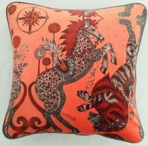 Emma J Shipley CASPIAN CORAL VELVET Cushion Cover 41cm