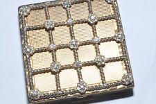 Wonderful Vintage Majestic Usa Powder Compact With Rhinestone Set Lid