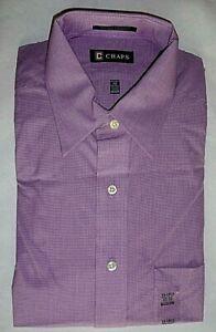 NWT Men's 15 - 15.5 32/33 R. LAUREN CHAPS DRESS SHIRT Lavender Purple Check $42