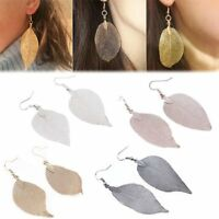 Vintage Women's Natural Real Dipped Leaf Leaves Long Drop Dangle Earrings Gift