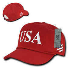 Red Usa Us American Flag 5 Panel Golf President Donald Trump Baseball Hat Cap