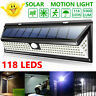 118 LED Solar Powered PIR Motion Sensor Wall Security Light Lamp Garden Outdoor`