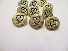 "5/8""  Antiqued BRONZE Tone Metal HEART  Shank Back  Buttons (12)"