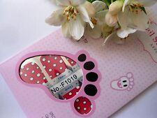 Nail Art Self Adhesive Full Toe Nails Polish Wrap Sticker Red Polka Spots 1019T