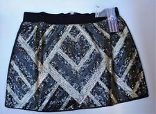 NWT Authentic Icon American Idol Black & Bronze Sequin Mini Skirt Size Small