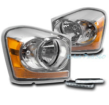 04-05 DODGE DURANGO CRYSTAL REPLACEMENT HEADLIGHTS LAMPS CHROME W/BUMPER DRL LED