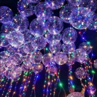 LED Transparent Helium Gas Ballon Wedding Birthday New Year Party Lights Decor