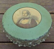 Antique Hobnail Glass Dresser Box Powder Jar Mirror Metal Lid + Celluloid Lady
