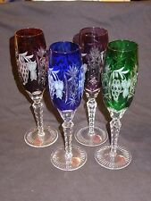 Crystal Clear Hungary Flutes Lot of 4 w/tags cut to clear Ajka MARSALA grapes