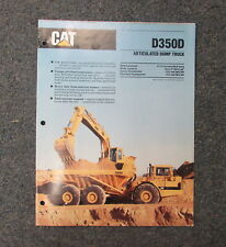 Cat Caterpillar D350D Articulated Dump Truck Dealer's Brochure Manual 1989