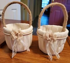 Two Linen Flower Girl Baskets Flower W/Lace Faux Pearl And Lace Trim