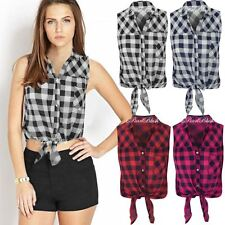 WOMENS LADIES CHECK SHIRT LUMBERJACK SLEEVELESS KNOT TIE CROP TOP BLOUSE SIZE