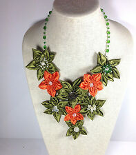 Handmade Statement Necklace Daisy Flower V-Shape Green Orange Crystal Chain