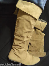 WET SEAL Knee High faux Suede Boots womens 6 Brown cuffed top western flat heel