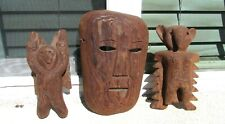 South Seas Carved Wood Mask and Two Figures