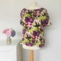 Jacques Vert lime/purple floral pattern top size 16 Blouse smart