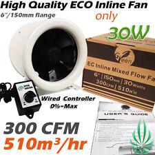 2x ECO 30W Hydroponics 6inch Inline Duct Fan 300CFM With Fan Speed Controller