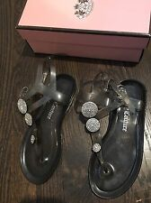 JUICY COUTURE  7 Black Jelly T-Strap Sandals Women's Rhinestones
